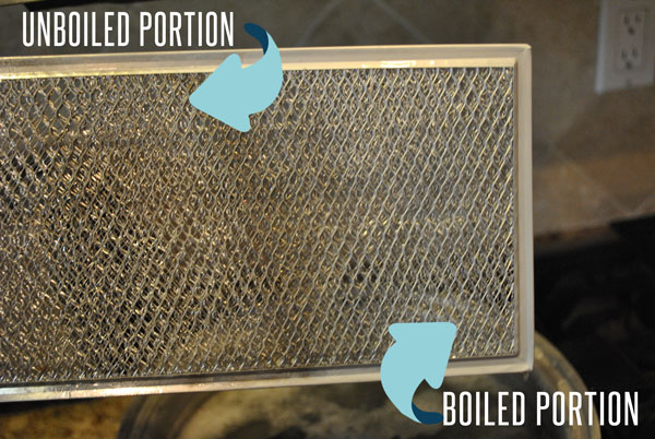 A before and after version of a boiled filter for a range.
