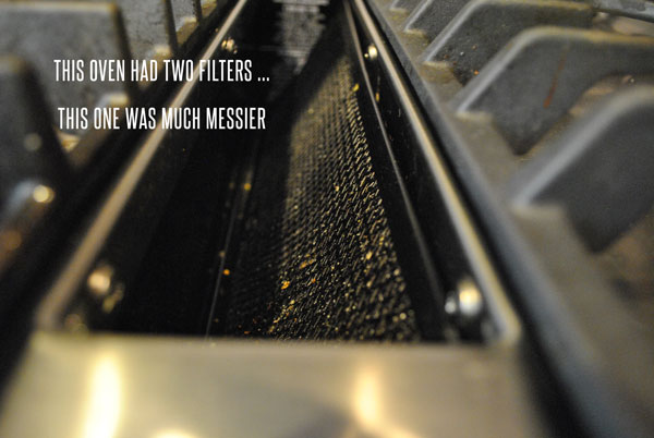 Remove filters above the oven or within the range to begin cleaning them.