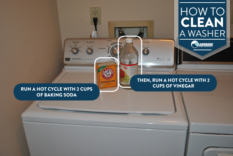 Clean your washer using baking soda and vinegar.