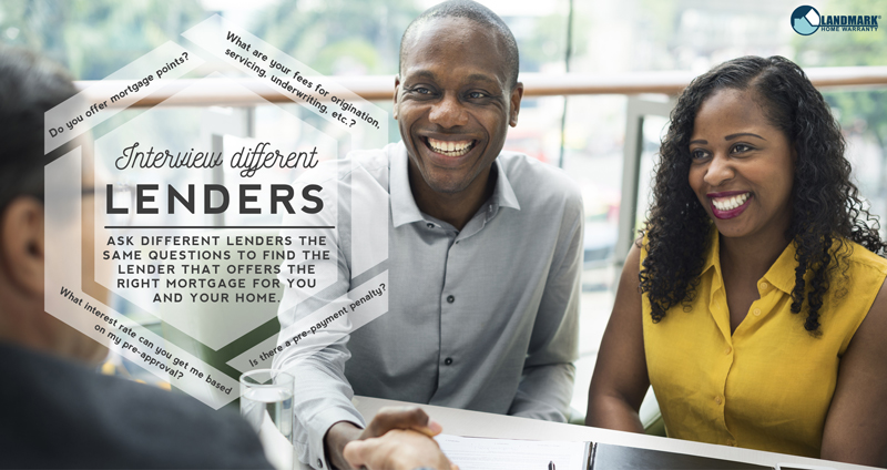 Choose the right lender by interviewing them and asking good questions.