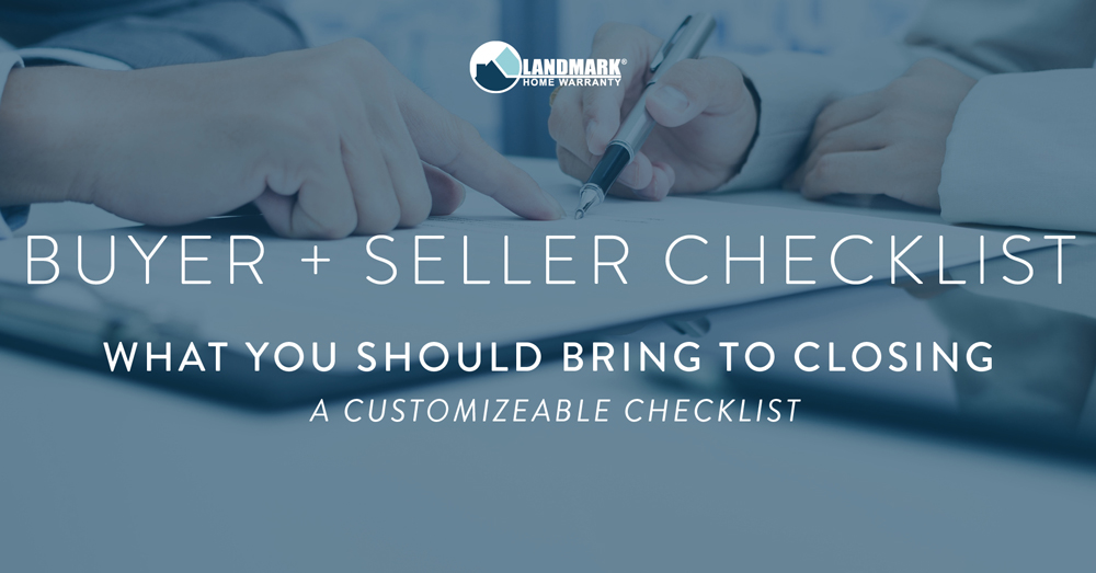 Header for the buyer's and seller's checklist for closing day.