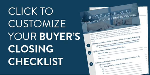 Real estate agents, download and customize this closing day checklist for your home buyers.