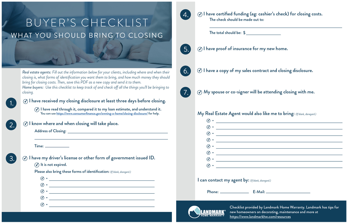 What Should You Bring to Closing Customizable PDF Checklist for – Sample Home Buying Checklist
