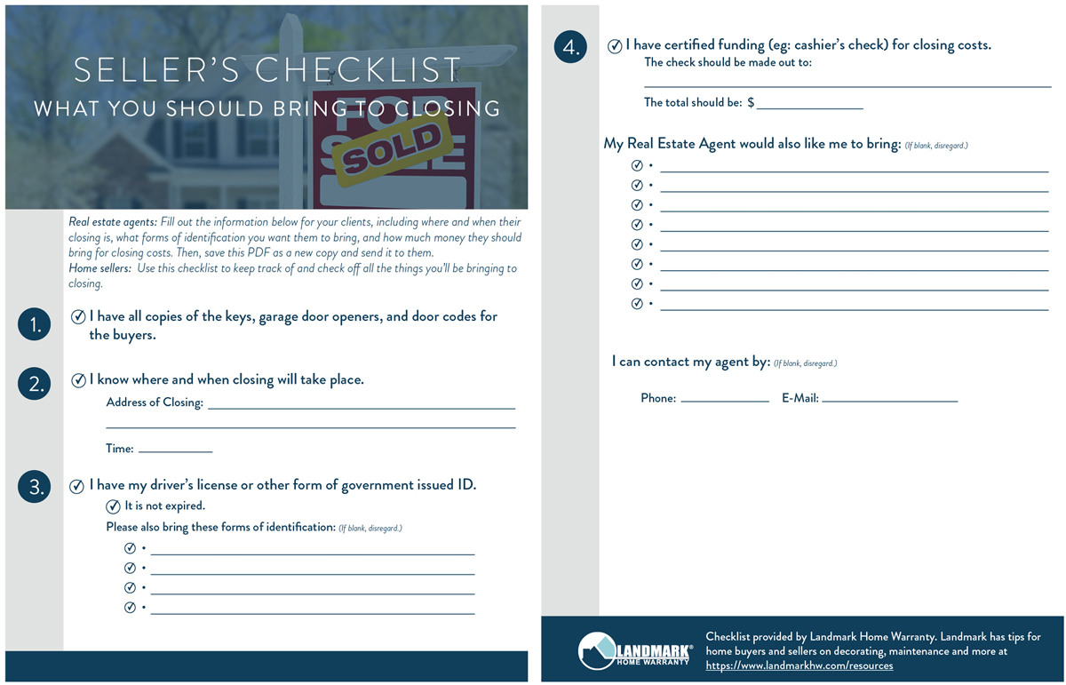 A seller's checklist on what to bring to closing day when selling their home.