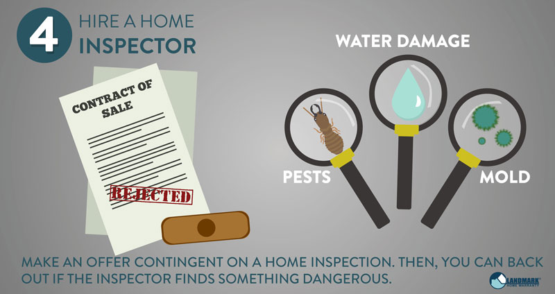 Make an offer contingent on a home inspection when buying a home.
