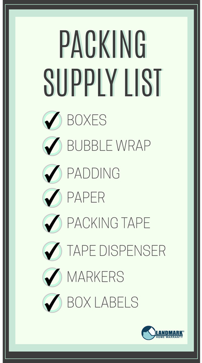 Make sure you have the right packing supplies with this list.