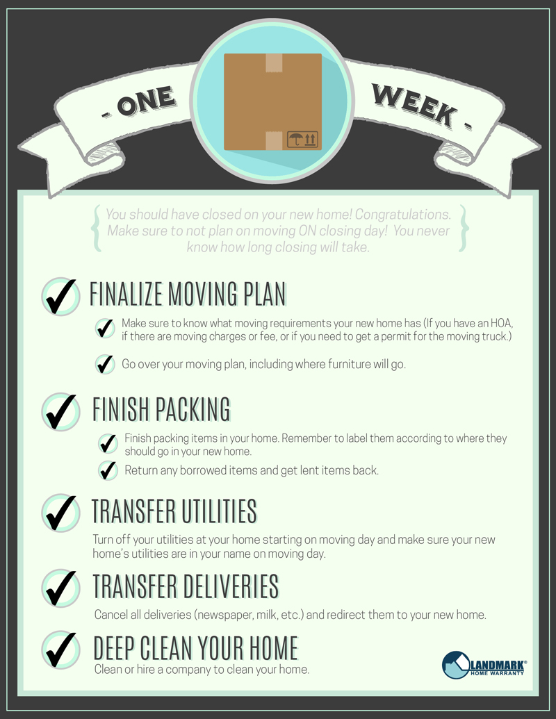 Get ready for the week before moving. Download the interactive moving checklist here.