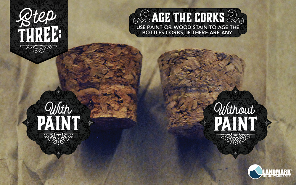 Use wood stain to make your corks for your potion bottles look old.