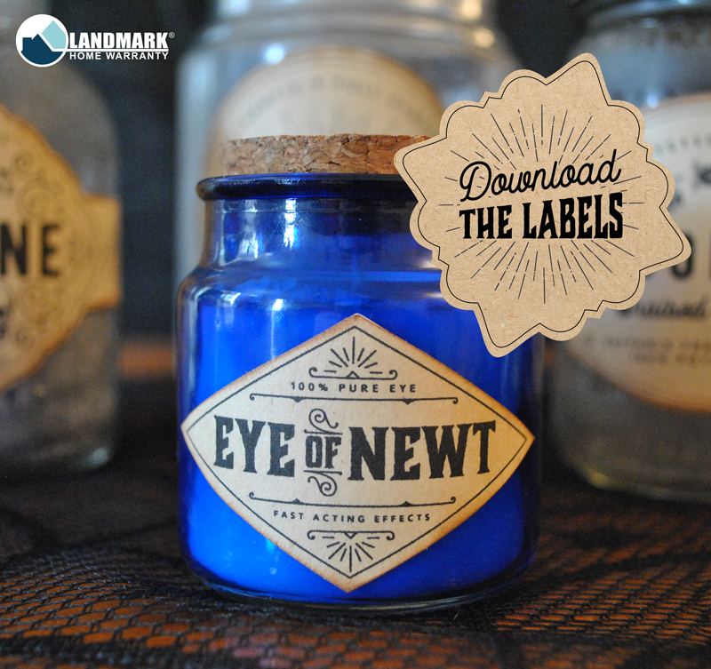 Get the free downloadable halloween potion bottle labels for eye of newt here.