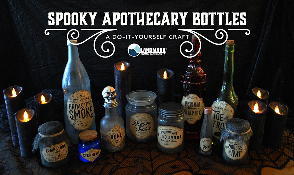 Learn how to make your own apothecary potion bottles for Halloween decorations.