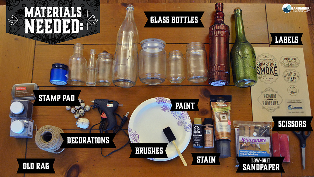 Materials you will need to make craft potion bottles for Halloween.