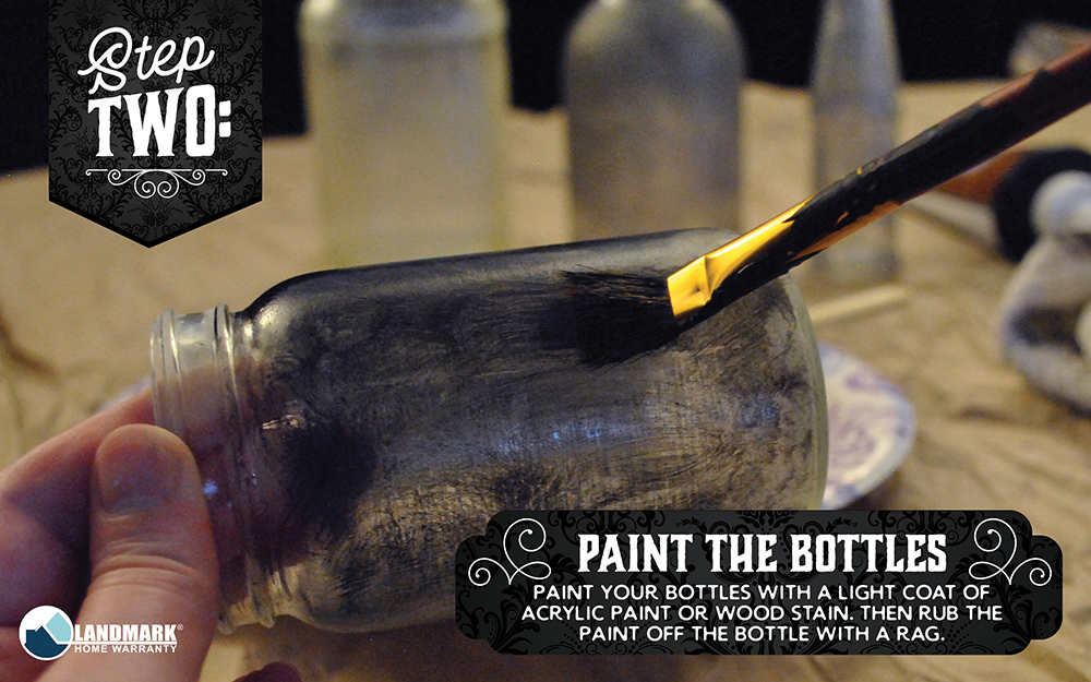 Paint your apothecary bottles with paint or wood stain to make them look dirty.