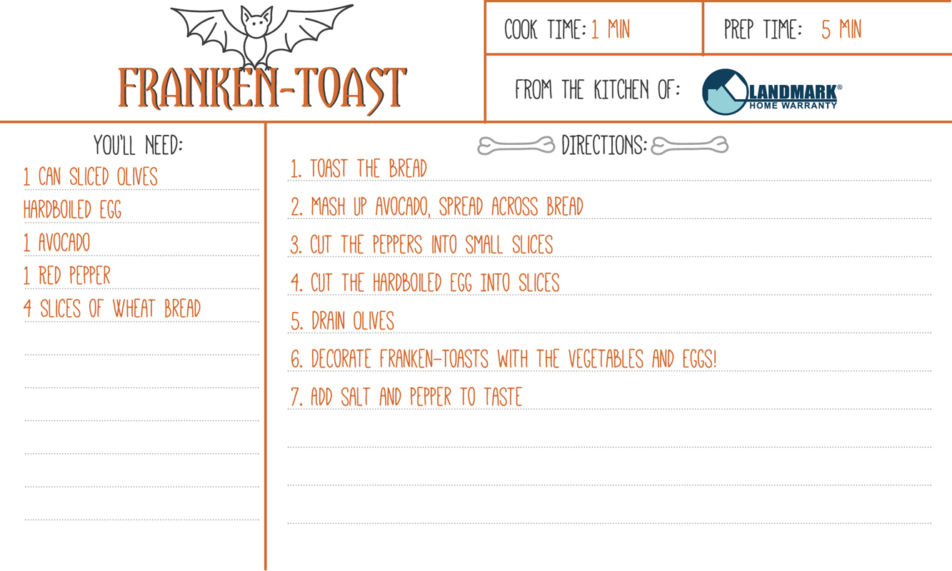 Printable recipe card for Avocado Toast halloween themed.