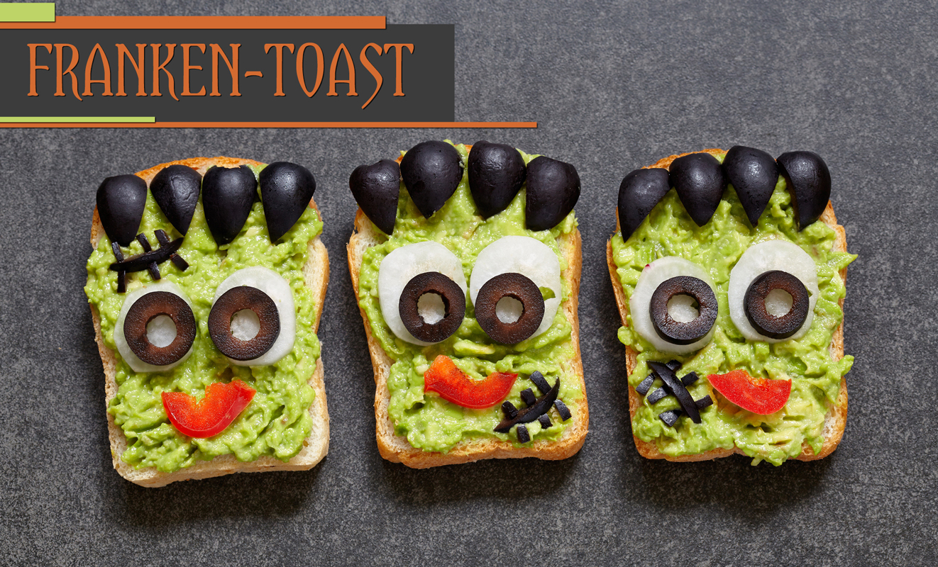 Printable recipe card for Franken Avocado Toast.