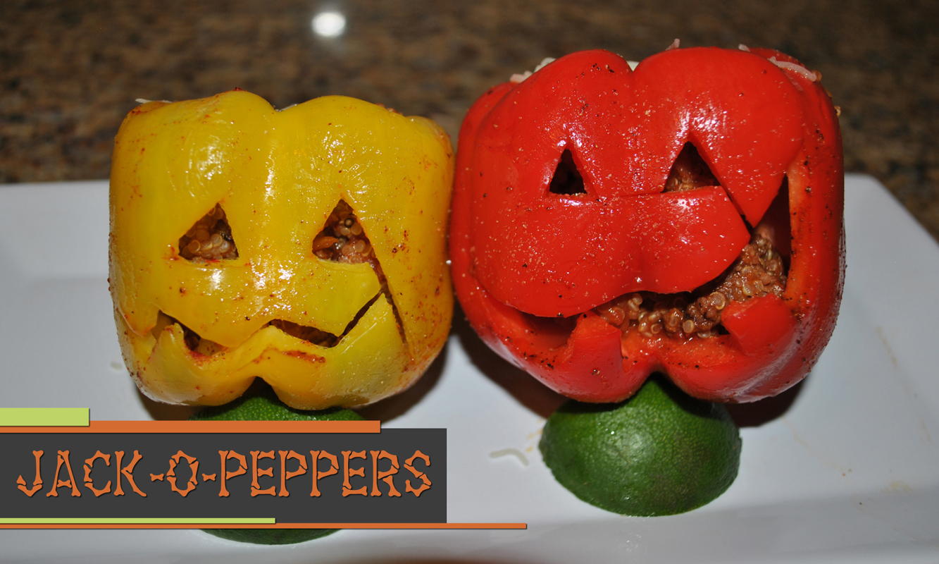 Printable recipe for jack-o-lantern stuffed peppers.