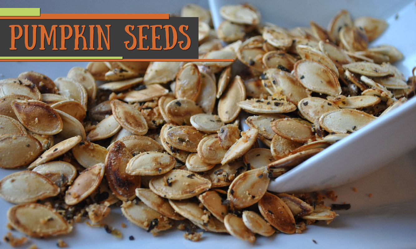 Downloadable recipe for pumpkin seeds.