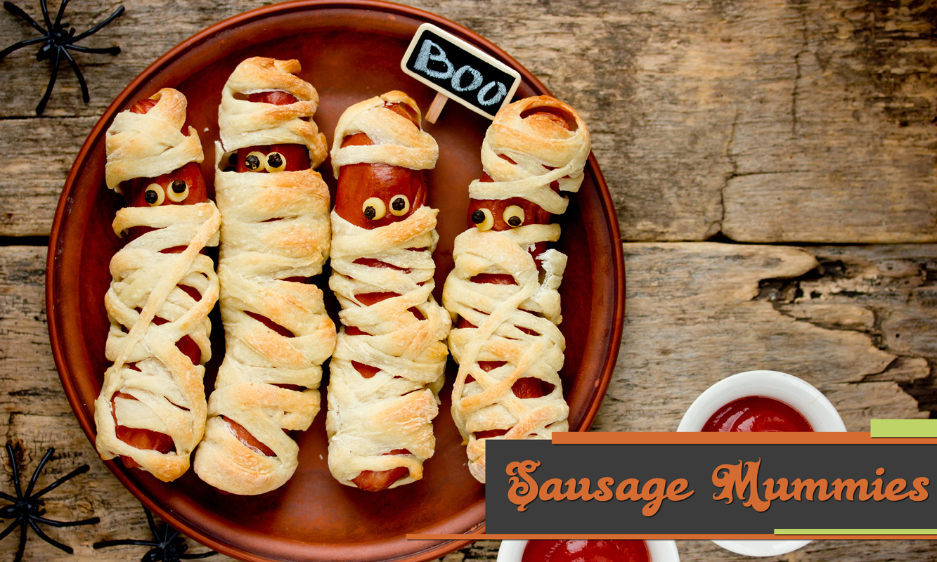 Printable recipe card for sausage mummies.