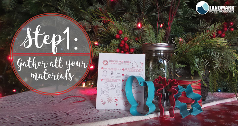 Gather all the materials for the Christmas sugar cookie mason jar.