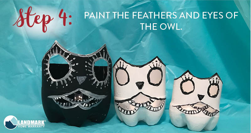 image showing how we painted our owls for the diy owl night light