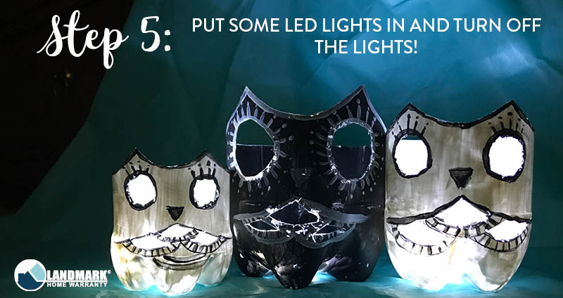 image showing how when you put LED lights in the owl looks