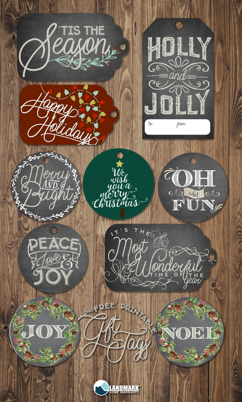 Free printable gift tags for holiday presents.