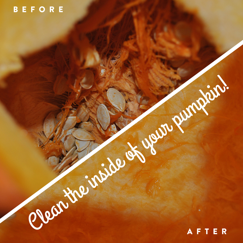 Clean the seeds and flesh from the inside of the pumpkin.