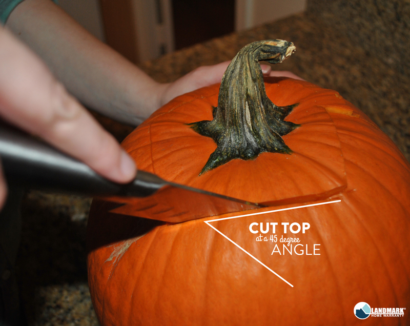 Cut the top of your pumpkin at a 45 degree angle.
