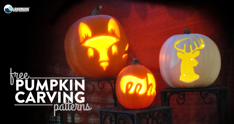 Free pumpkin carving patterns from Landmark Home Warranty.