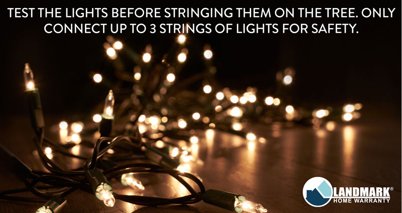 Only connect up to three strings of lights at a time and only when they are the same amount of lights per string to for electrical safety.