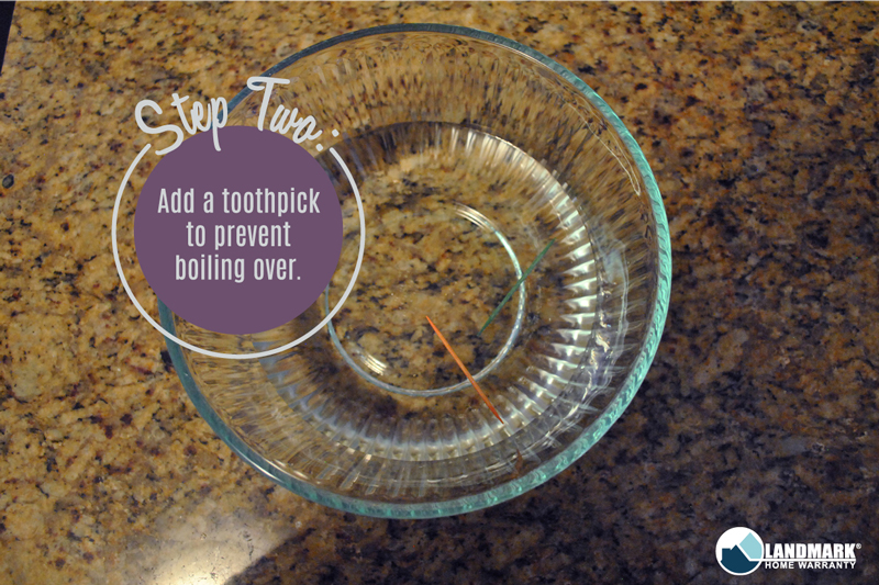 Add toothpicks to keep the bowl from overflowing when using this trick to clean your microwave.