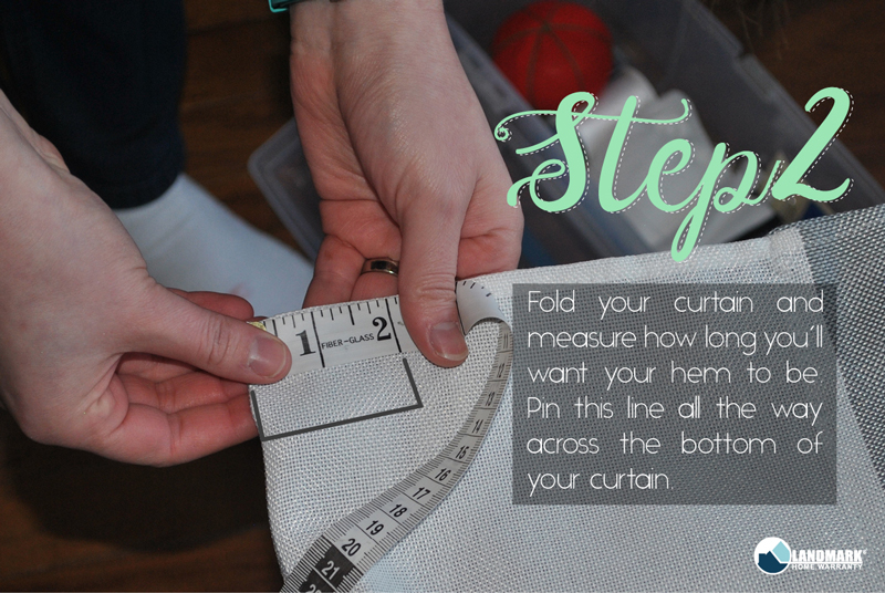 Measure and pin your curtains on the hem.
