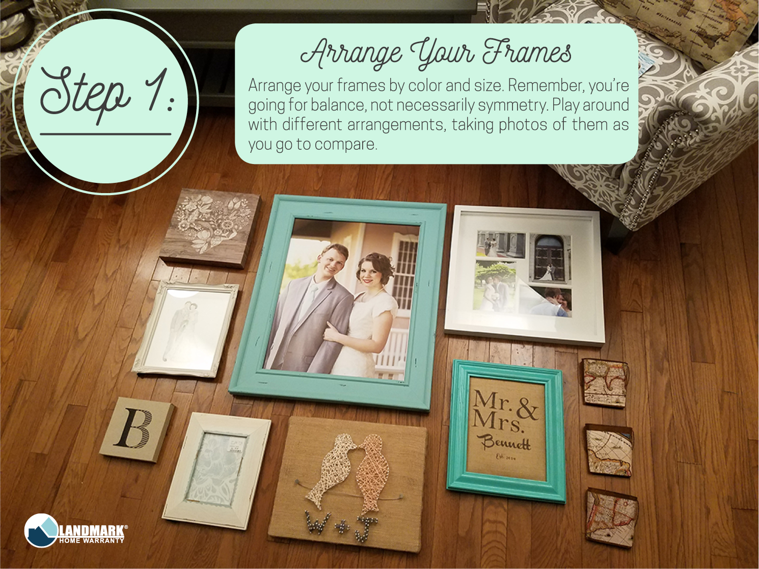 Arrange your frames for your gallery wall.