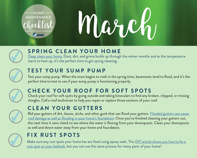 Weekly Home Maintenance Checklist