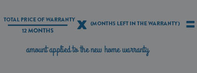 image explaining the formula explaining how Landmark calculates transfer credit for a home warranty