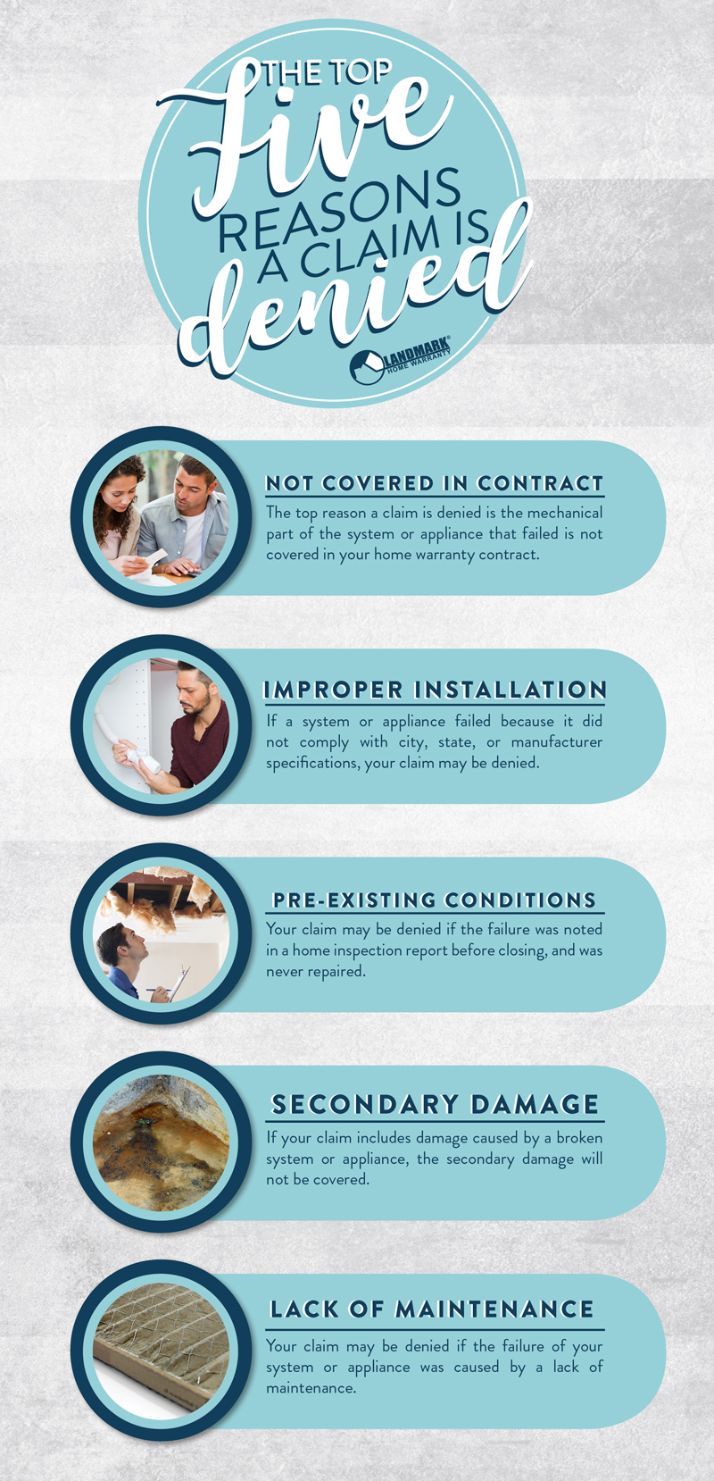 full infographic explaining what all five reasons for why your claim might be denied are