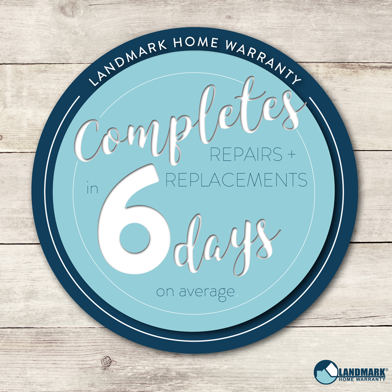 Landmark Home Warranty completes repairs and replacements in an average of 6 days.