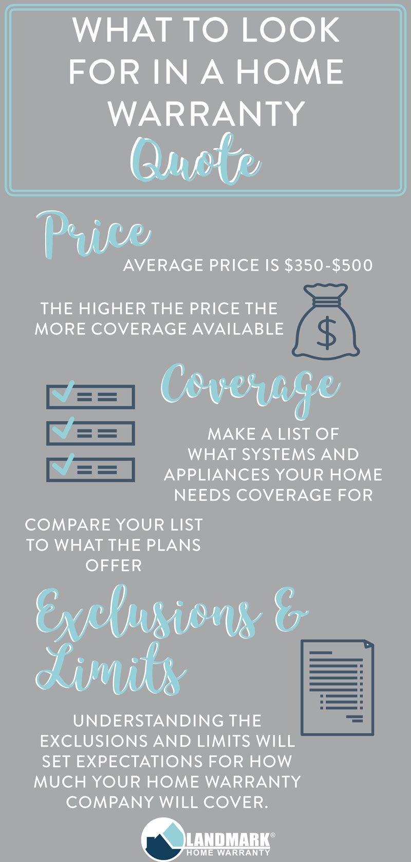 There are four things you should look into when looking for a home warranty quote: price, coverage, exclusions, and limits.
