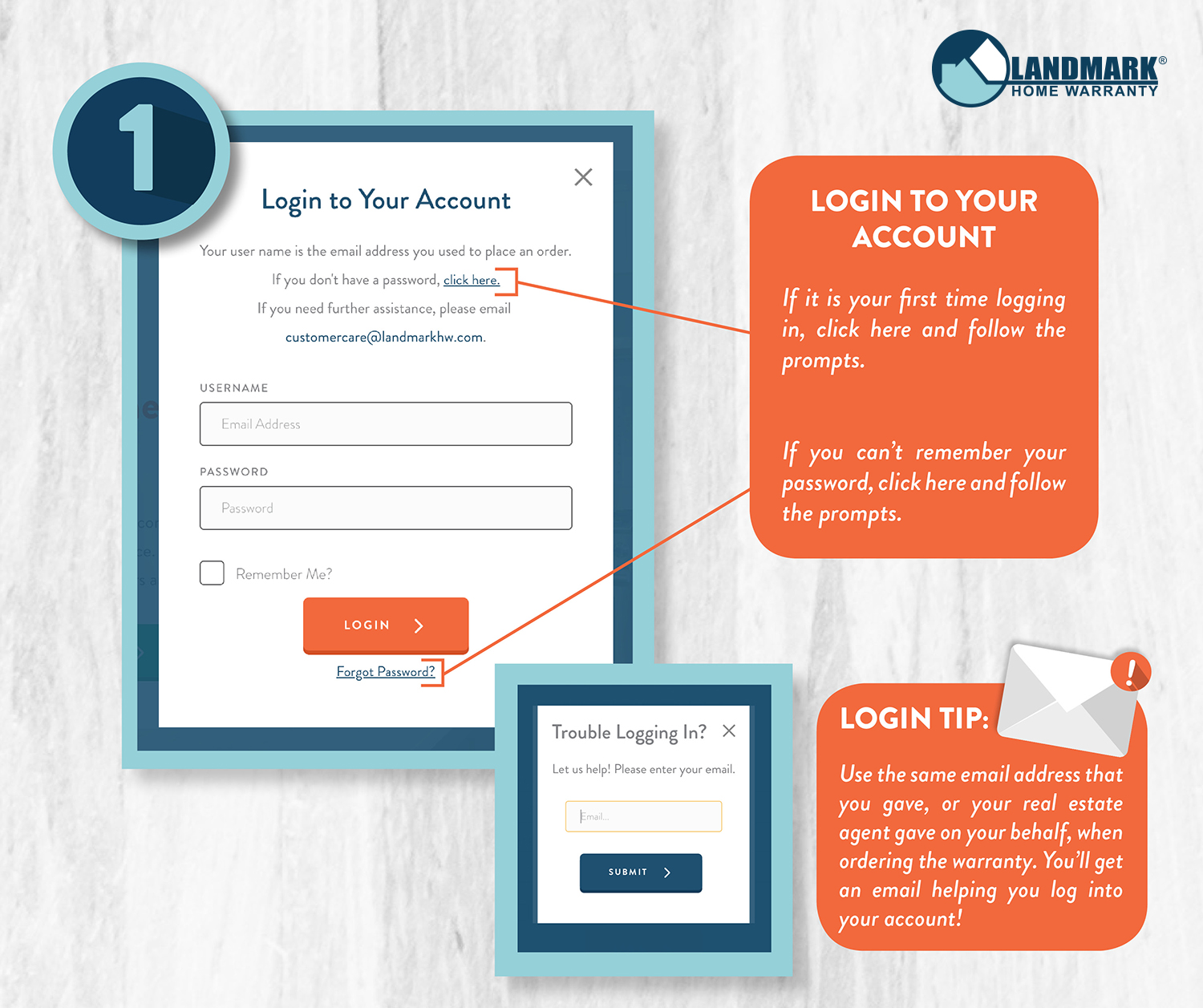 Step one: Log into your account on Landmark Home Warranty's website.