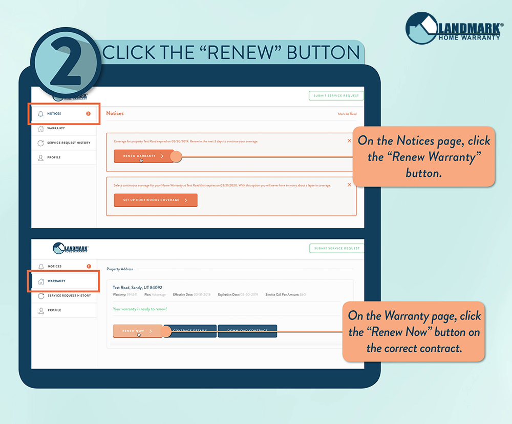 Click one of the orange renew warranty buttons on your account screen.