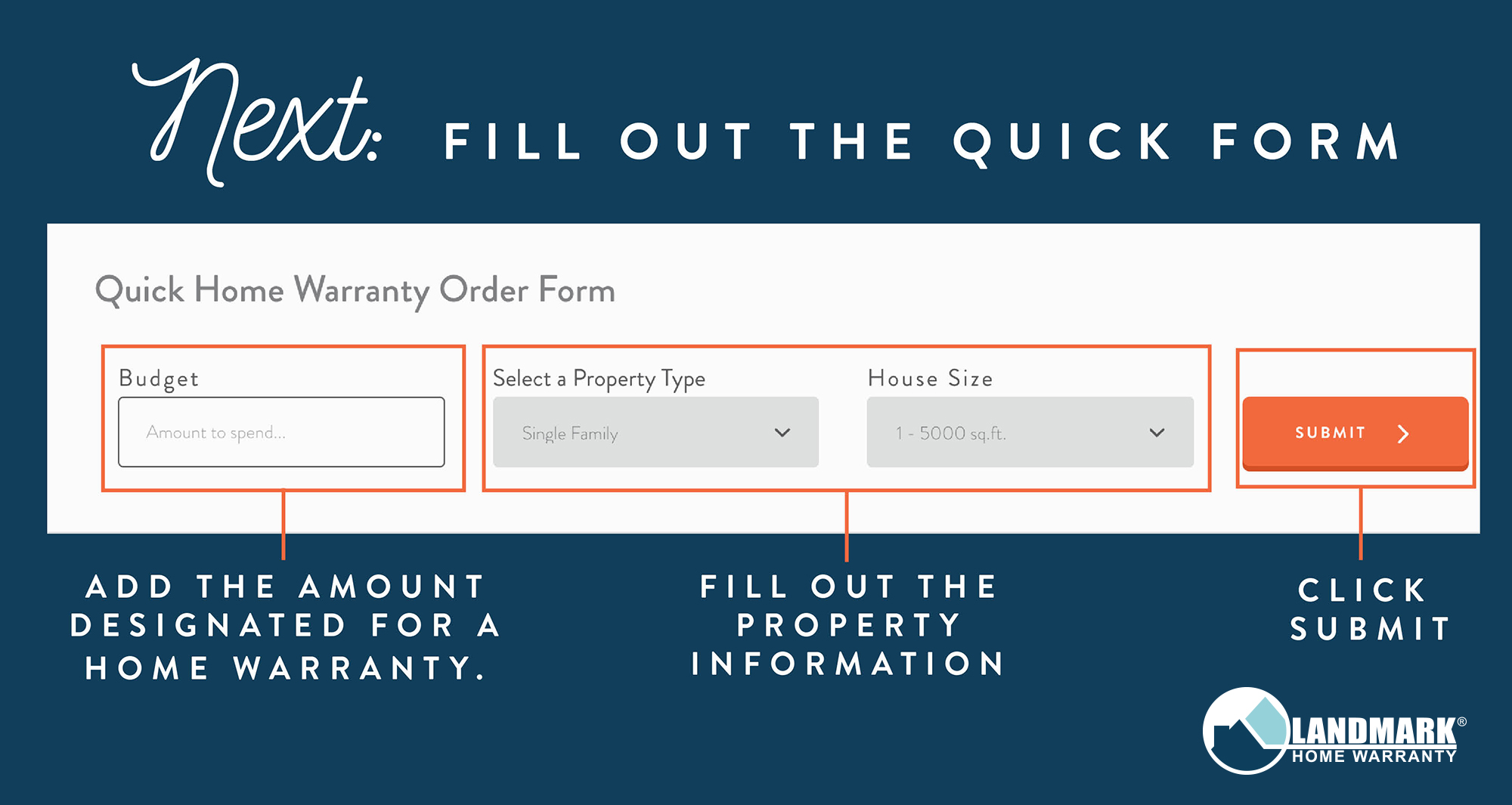 Input information into the quick order form.