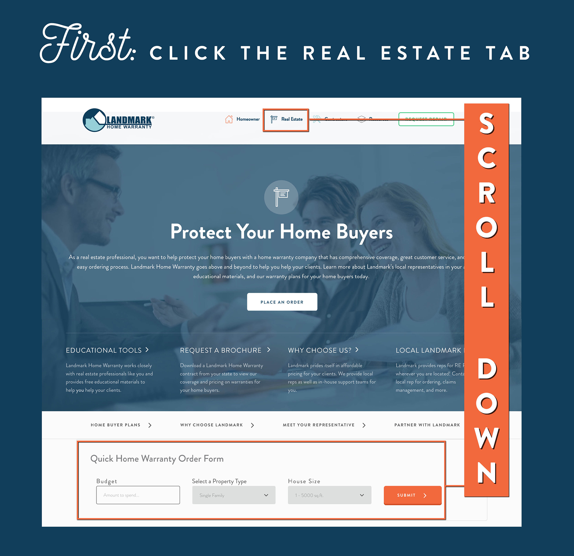 Find the quick order tool by scrolling down the real estate page.