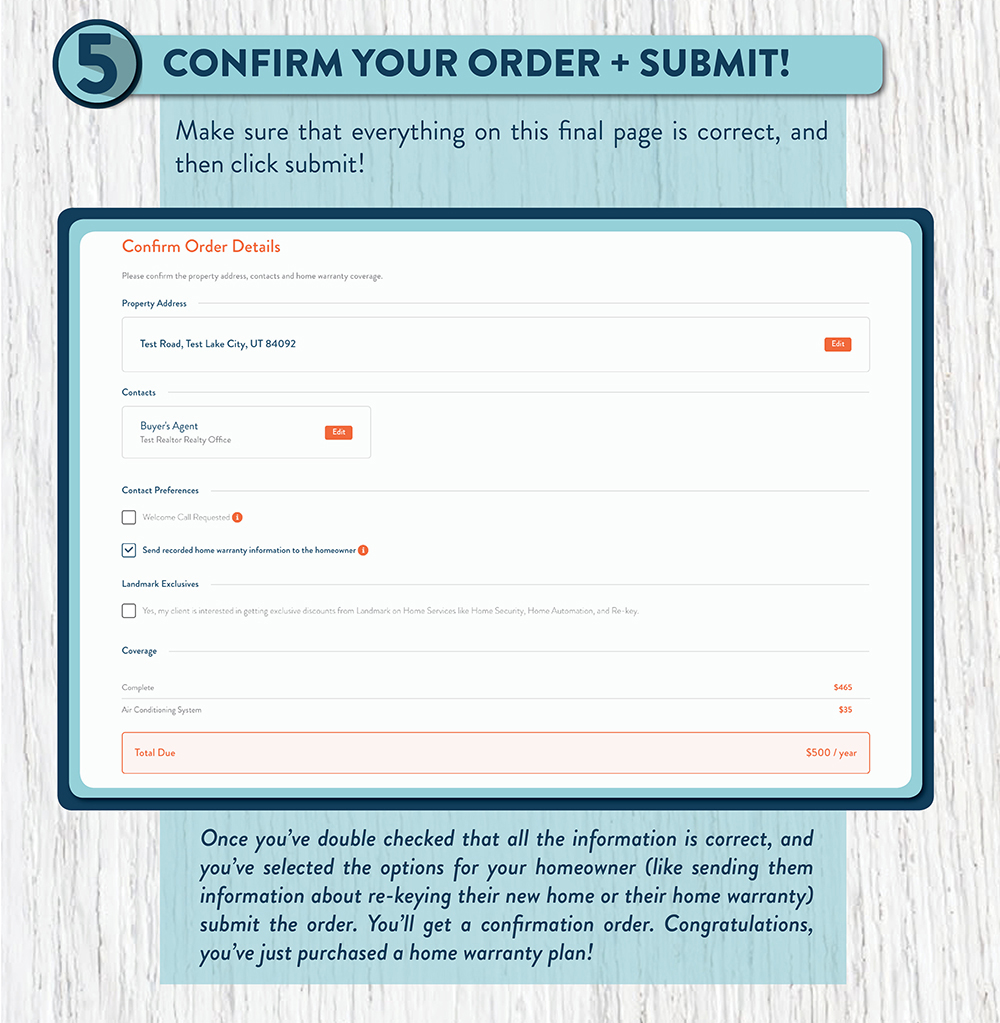 Confirm and submit order confirmation for your real estate home warranty plan.