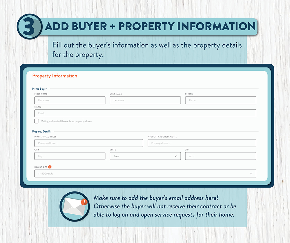 Input the property information for the home that will be covered by the home warranty plan you are ordering.