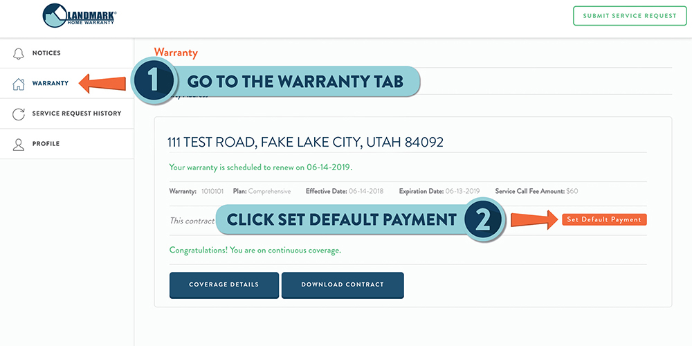 Step one of updating your payment method on your Landmark Home Warranty account.