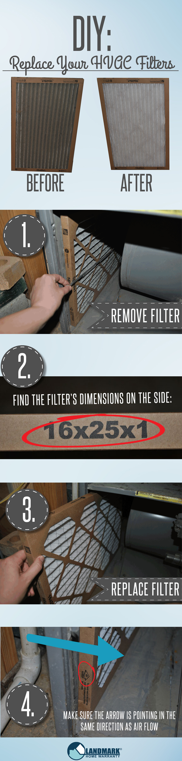 How to clean or replace your hvac filters diy infographic on how to replace your hvac filter for your air conditioner or furnace publicscrutiny Images