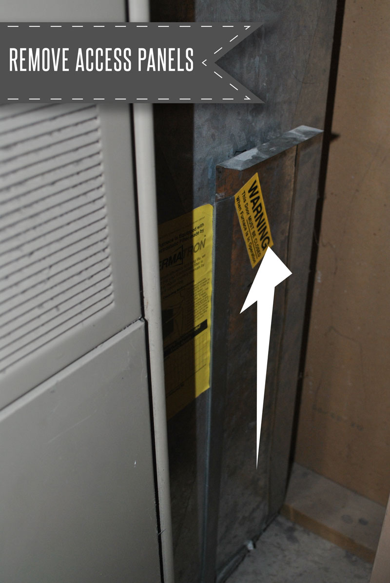 Remove the access panel to get the washable filter out of your HVAC unit.