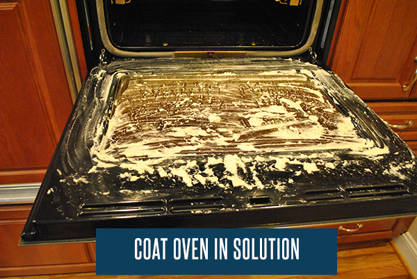 Coat your oven in this solution to begin eating away at the grease.