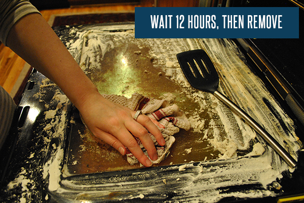Let the solution sit for 12 hours in order to clean the oven properly..