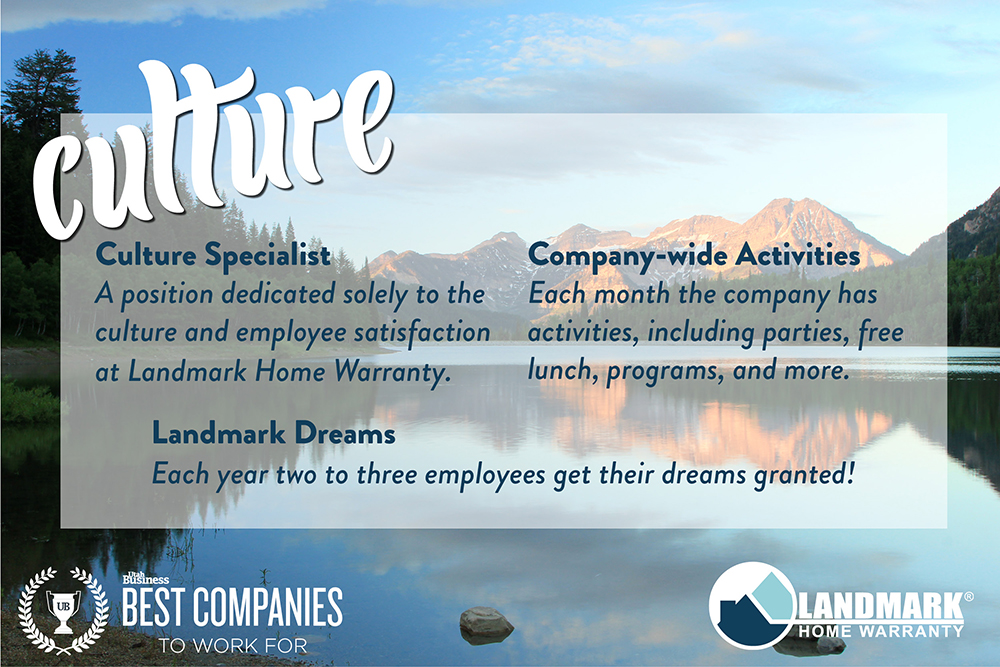 Landmark Home Warranty's culture and commitment to caring for their employees helped solidify their rank as one of the best places to work in Utah.