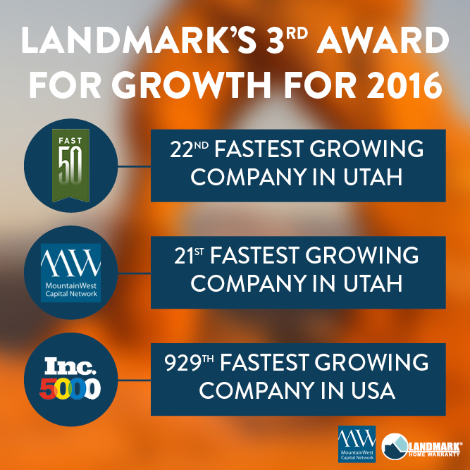 This is the third award Landmark Home Warranty won for growth in 2016.